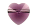 8 Amethyst - 10mm Swarovski Faceted Heart Beads