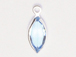 Swarovski Crystal Silver Plated Birthstone Channel Marquis Charms - Aquamarine