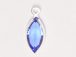 Swarovski Crystal Silver Plated Birthstone Channel Marquis Charms - Sapphire