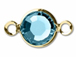Swarovski Crystal Gold Plated Birthstone Channel Links - Aquamarine