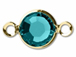 Swarovski Crystal Gold Plated Birthstone Channel Links - Blue Zircon
