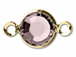 Swarovski Crystal Gold Plated Birthstone Channel Links - Light Amethyst