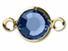 Swarovski Crystal Gold Plated Birthstone Channel Links - Sapphire