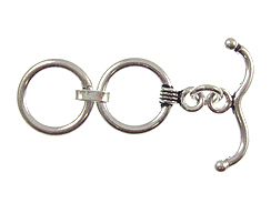14.25mm Round 2-Ring Sterling Silver Toggle Clasp