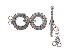 13mm 2-Strand Bali Round 2-Ring Sterling Silver Toggle Clasp