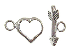 12x12mm Heart And Arrow Sterling Silver Toggle Clasp