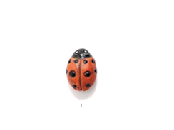 Orange Lady Bug - Teeny Tiny Peruvian Ceramic Bead