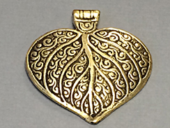 Brass Pendant - Antique Leaf Design Ethnic, Tribal, Amulet, Vintage- Large 2.5-inch