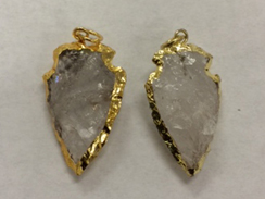 Arrowhead Crystal Quartz Pendant, Gold Plated Edged, Hand made Pendant 1.5 inch Approx