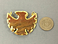 Eagle Jasper , Gold Plated Edged, Double Looped Hand made Pendant 2 inch Approx