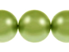 Green 14mm Round  Glass Pearls